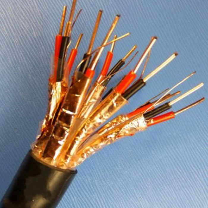 Copper core Teflon insulated and sheathed copper tape wrapped shielded control flexible cable