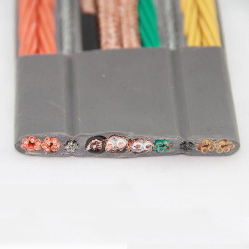 Elevator flat cable with copper wire braided shield, galvanized steel wire tensile TVVBPG